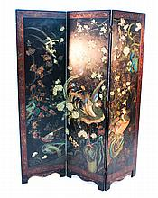 Fine Chinese Carved and Lacquered Floor Screen