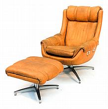 Mid-Century Modern Leather Easy Chair and Stool
