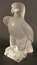 Large Lalique Crystal Falcon