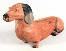 Folk Art Carved and Painted Hardwood Dachshund