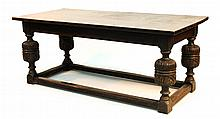 English Elizabethan style carved oak harvest table
