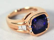 Ladies Gold, Tanzanite, and Diamond Ring