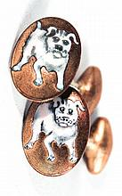 Pair Continental Enameled Metal Men's Cufflinks