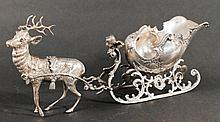 German Sterling Silver Christmas Reindeer & Sleigh