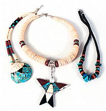 Three Native American Turquoise & Shell Necklaces