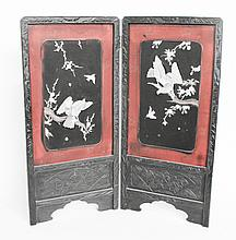 Chinese Carved Shell and Lacquer Two-Panel Screen