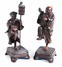 Two Bronze Statues of Chinese Elders