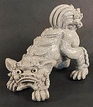 Unusual Chinese Pottery Foo Lion Figure