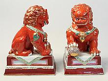 Pair Chinese Export Guardian Lions