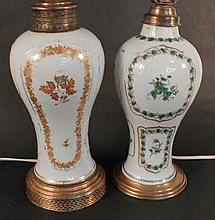 Two Chinese Export Porcelain Garniture Vase Lamps