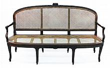 Fine French Provincial Carved Walnut Cane Sofa