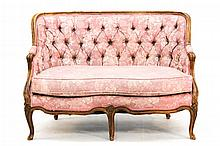 French Carved & Upholstered Fruitwood Settee