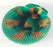 Majolica Shell Serving Plate with Dolphin Feet