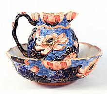 Art Nouveau Ceramic Lotus Pitcher & Punch Bowl