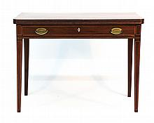 American Federal Inlaid Mahogany Card Table