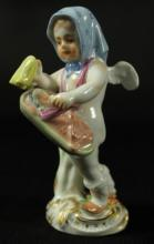 MEISSEN FIGURE OF CHERUB WITH BABY
