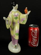 KPM FIGURE OF CHINESE LADY WITH PARROT