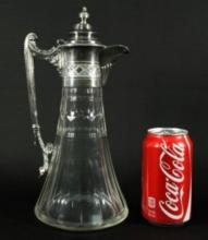 SILVER PLATED AND CUT GLASS DECANTER