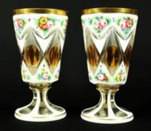 PAIR OF 19TH C. BOHEMIAN OVERLAY VASES
