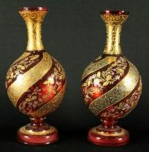 ANTIQUE PAIR OF 19TH C. BOHEMIAN MOSER CRANBERRY VASES