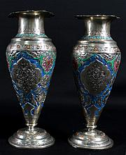 PAIR OF SILVER AND ENAMEL VASES