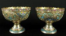 PAIR OF SILVER AND ENAMEL BOWLS FROM ESFAHAM