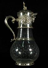 SILVER PLATED AND ETCHED GLASS DECANTER