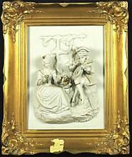 BEAUTIFUL PORCELAN AND GILDED PLAQUE