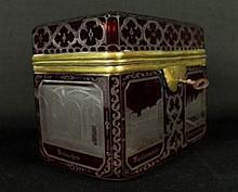 BOHEMIAN ETCHED GLASS BOX