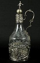 Unusual continental silver & etched glass decanter