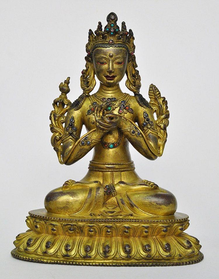 A Sino-Tibetan Gilt Bronze Matreiya, Qing