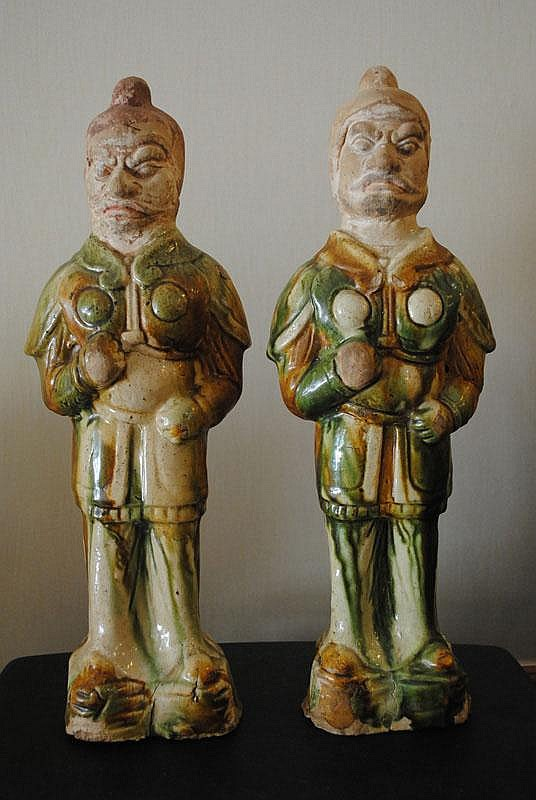 A Pair of Chinese Sancai Glazed Guardians