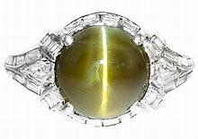 ART DECO CHRYSOBERYL CATS EYE, DIAMOND AND PLATINUM RING