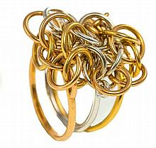 HERMES. A French hallmarked 18cts gold ring