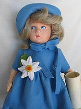 Italian 33cm 1980s Lenci Girl, with COA. Blue felt