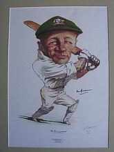 A Limited Edition signed Don Bradman caricature