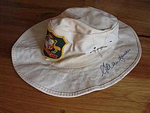 Game used / signed Allan Border Cricket Aust. fielding hat