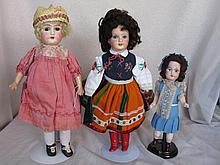 Three antique repaired German/French dolls