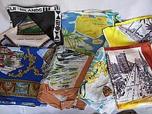 Mixed Twenty One vintage Travel Scarves includes