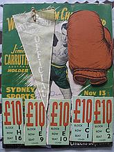 World Title Boxing 1953 Program & Tickets etc