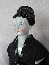 Two antique c1860s German Chinahead dolls on replaced bodies. 23