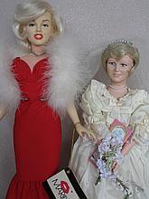 Two tagged celebrity vinyl dolls:- World Dolls 1983 LE Marilyn Monroe 48cm, red dress. Nisbet 38cm w