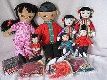 Seven mixed Mission Cloth Dolls to 43cm includes Ada Lum. All original costumes and four extra costu