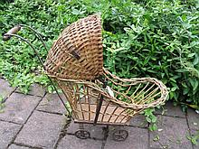 Scarce original 1920-30s Toddlers Doll Pram, cane weave with wood base, 58cm to cane hood, small cas