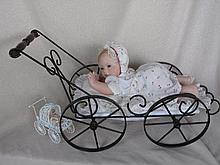 Artist 61cm porcelain Reproduction H/Gunzel child. Wire miniature doll pram & porcelain doll, Porcel