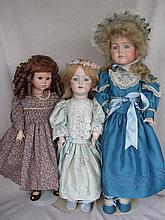Three Artist porcelain Reproduction Dolls:- 53cm DEP Jumeau. S&Halbig; 58cm Gretchen has a/f lower le