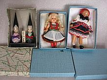 Fourteen unplayed excellent Regional dolls includes 8 boxed:- Japanese wood 25cm Kokeshi, 36cm Germa