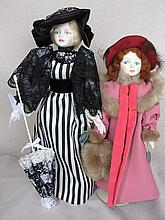 Two 1980s all original LE Peggy Nisbet / Royal Doulton bone china dolls. 36cm Ascot and 29cm The Muf