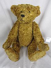 Replica early Steiff Bear 41cm cotton plush with black button eyes, long limbs and partially shaved