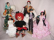 Mixed box of ten (10) character dolls includes:- 4 Hamilton 1988 Wizard of Oz figures, Marin Spanish